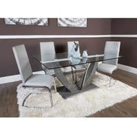 160cm Glass Rectangular Dining Table  & 6 Grey Chairs